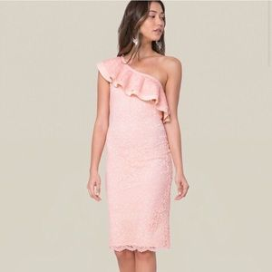 Bebe One Shoulder Ruffled Lace Bodycon Dress M